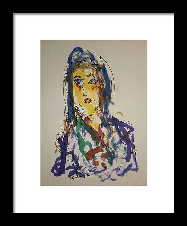 Portrait Framed Print featuring the painting Female Face Study Cc by Edward Wolverton