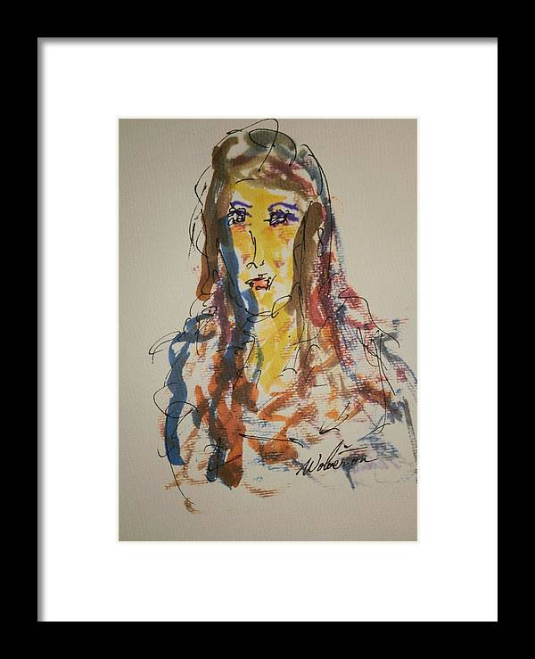 Portrait Framed Print featuring the painting Female Face Study L by Edward Wolverton