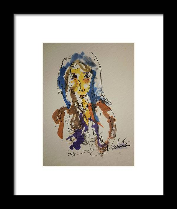 Portrait Framed Print featuring the painting Female Face Study T by Edward Wolverton
