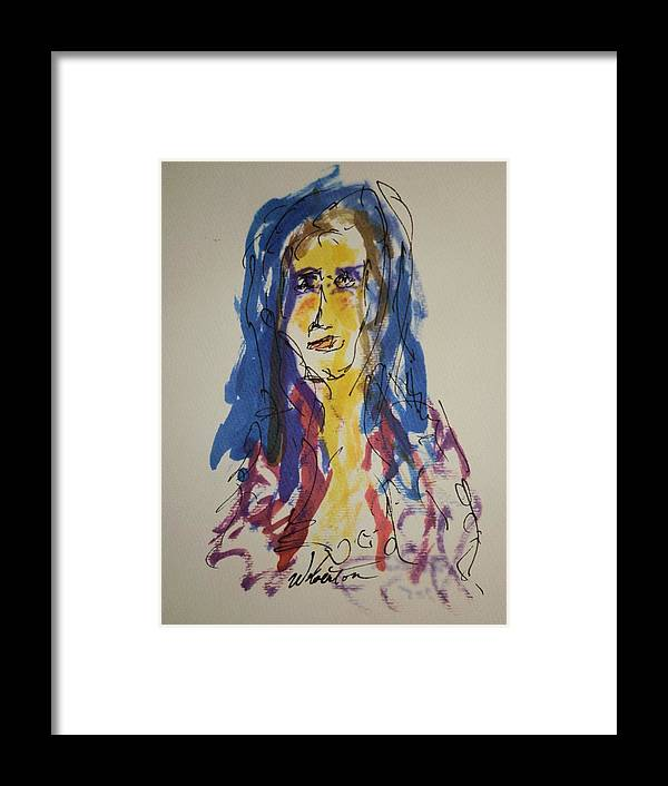 Portrait Framed Print featuring the painting Female Face Study Y by Edward Wolverton