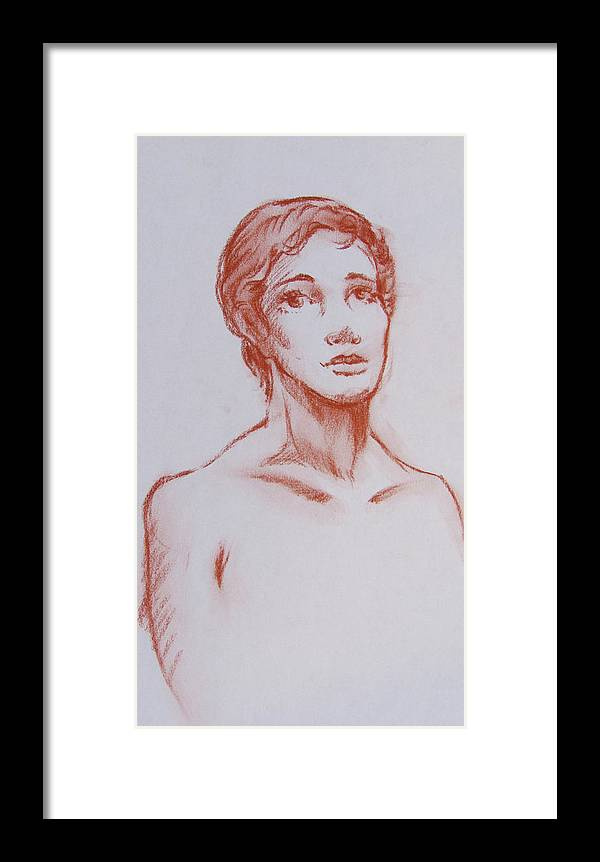 Female Framed Print featuring the drawing Female Model 10 by Markus Neal Humby