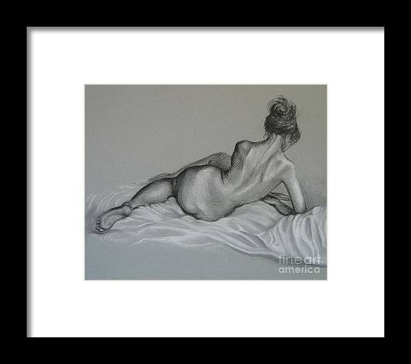 Woman Framed Print featuring the drawing Female Nude by Elena Oleniuc
