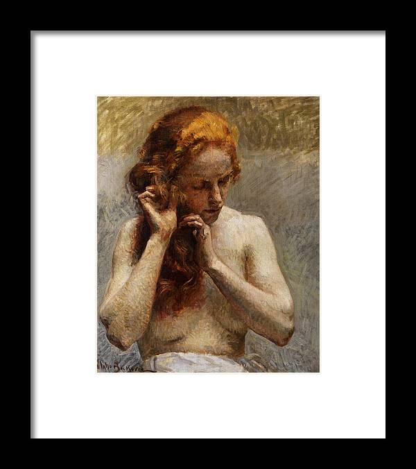 Vlaho Bukovac Framed Print featuring the painting Female Nude with Red Hair by Vlaho Bukovac