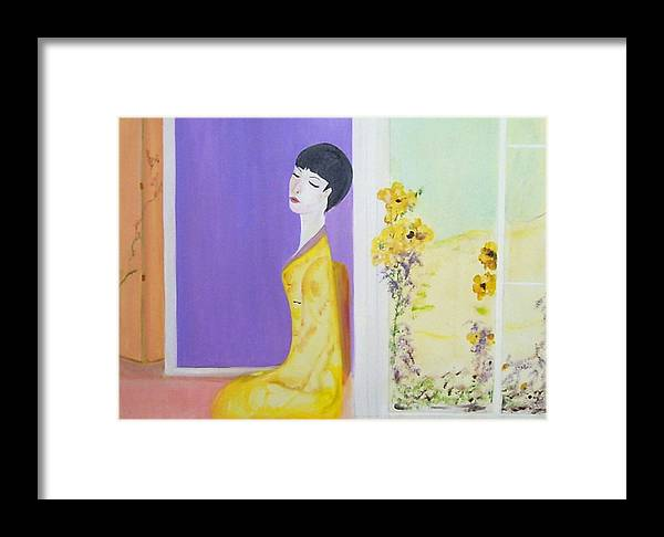 Oriental Lady Framed Print featuring the painting Femme En Jaune by Michela Akers