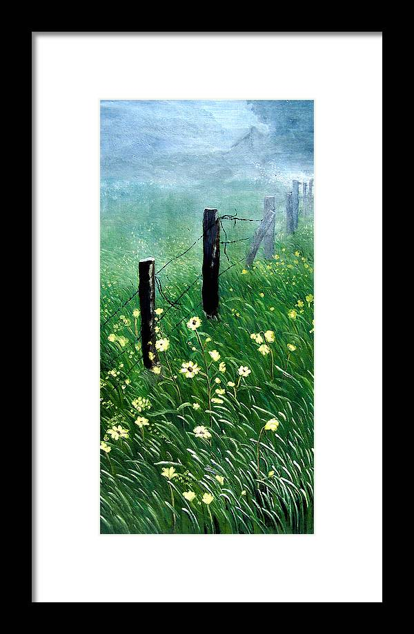 Landscape Framed Print featuring the painting Fence With A Ghost House by Robert Thomaston