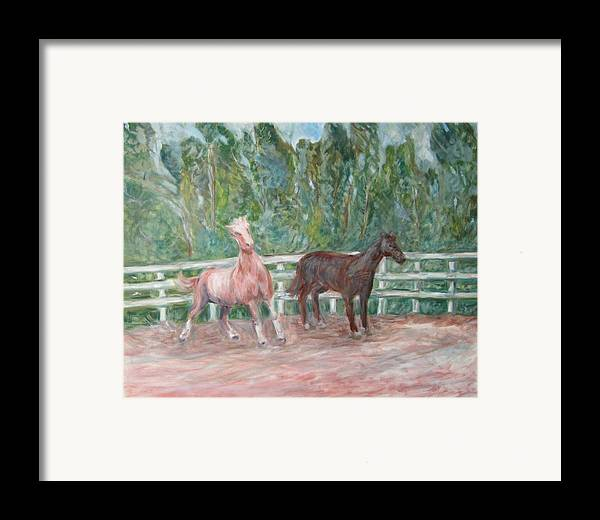 Horse Landscape Animals Framed Print featuring the painting Fenced In by Joseph Sandora Jr