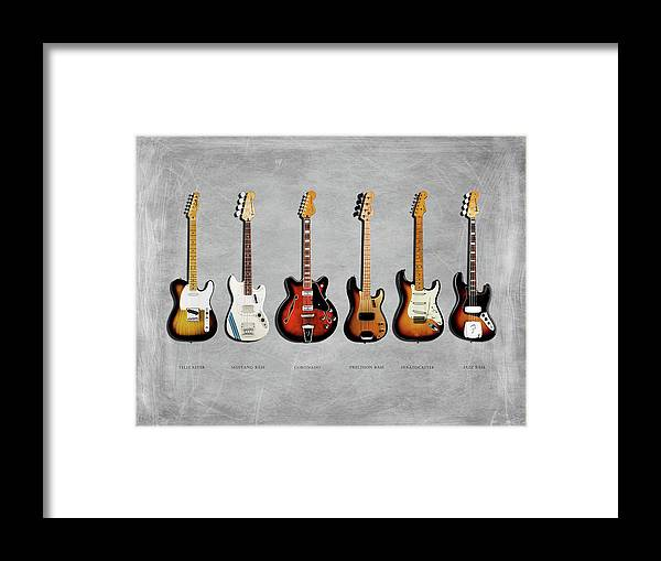 Fender Stratocaster Framed Print featuring the photograph Fender Guitar Collection by Mark Rogan