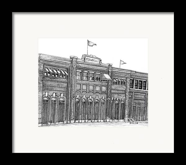 Fenway Park Framed Print featuring the drawing Fenway Park by Juliana Dube