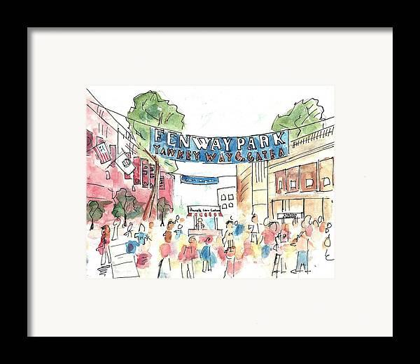 Baseball Framed Print featuring the painting Fenway Park by Matt Gaudian