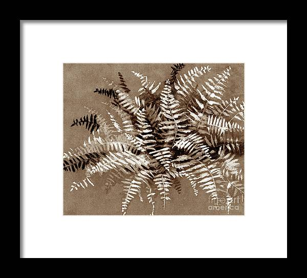 Monochromatic Framed Print featuring the drawing Fern In Sepia by Julia Khoroshikh