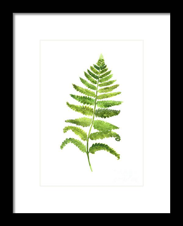 Art Framed Print featuring the painting Fern Wall Poster, Green Kitchen Decor, Botanical Floral Painting by Joanna Szmerdt