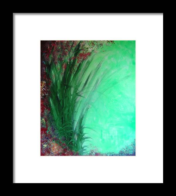 Green Ferns Framed Print featuring the painting Ferns by Lizzy Forrester