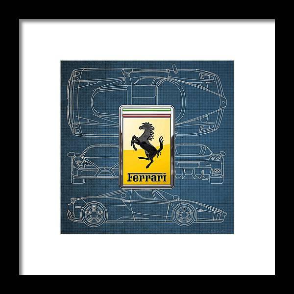 Ferrari 3 d badge over enzo ferrari blueprint framed print by serge auto badges collection by serge averbukh framed print featuring the digital art ferrari 3 malvernweather Gallery