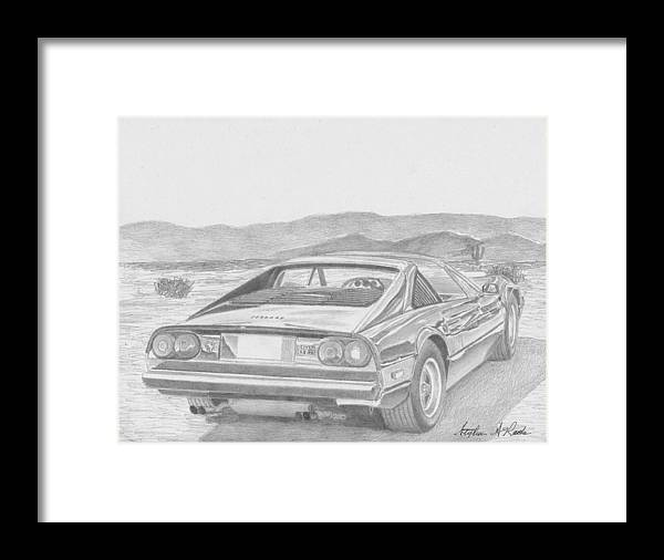 Rooks10904 Drawings Framed Print featuring the drawing Ferrari 308gts Rear View Exotic Car Art Print by Stephen Rooks