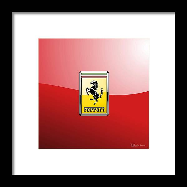 �auto Badges� Collection By Serge Averbukh Framed Print featuring the photograph Ferrari 3D Badge-Hood Ornament on Red by Serge Averbukh