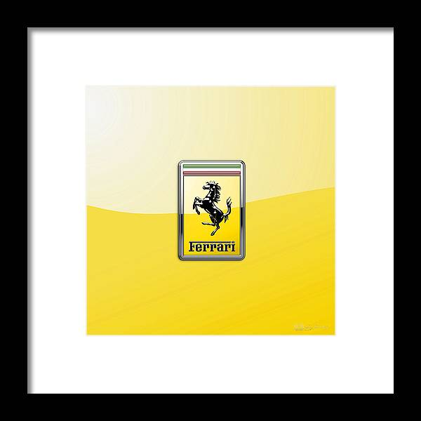 �auto Badges� Collection By Serge Averbukh Framed Print featuring the photograph Ferrari 3D Badge- Hood Ornament on Yellow by Serge Averbukh