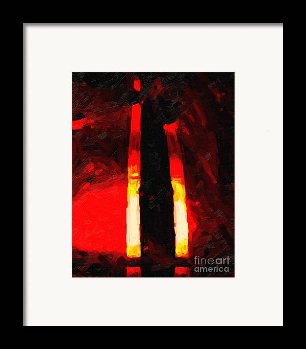 Ferrari Framed Print featuring the photograph Ferrari Racing Abstract by Wingsdomain Art and Photography