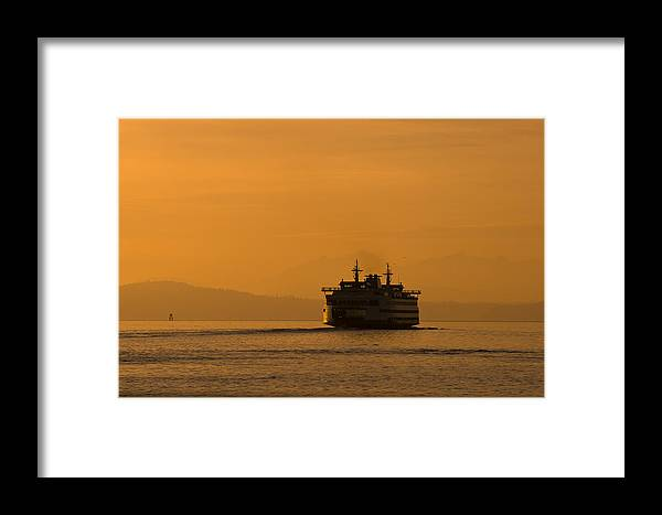 Ferry Framed Print featuring the photograph Ferry At Sunset by Chad Davis