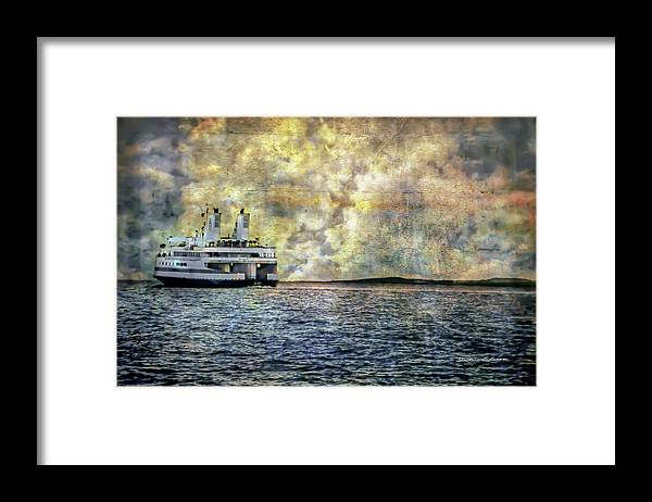 Ferry Boat Framed Print featuring the digital art Ferry Boat by Darlene Freas