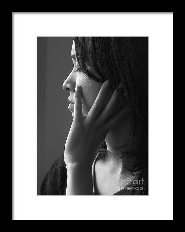 Woman Girl Candid Monochrome Hand Framed Print featuring the photograph Ferry Girl by Sheila Smart Fine Art Photography