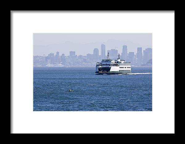 Ferry Framed Print featuring the photograph Ferry Versus Kayaker by Chad Davis