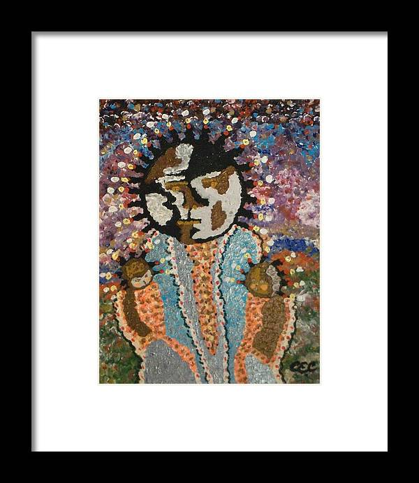 Abstract Framed Print featuring the painting Fertility Goddess by Carolyn Cable