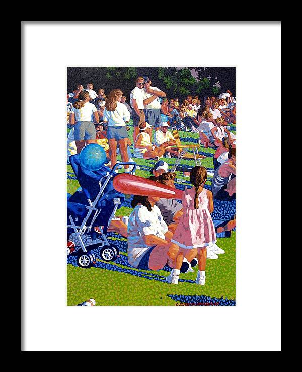 People Framed Print featuring the painting Festival by Kevin Lawrence Leveque