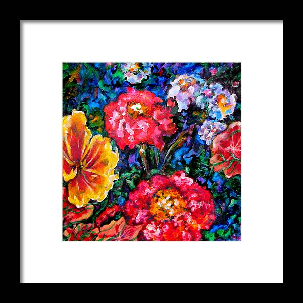 Floral Framed Print featuring the painting Fetching Frivolity by Laura Heggestad