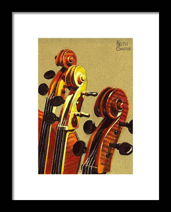 Violins Framed Print featuring the pastel Fiddle Heads by Keith Gantos