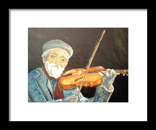Hungry He Plays For His Supper Framed Print featuring the painting Fiddler Blue by J Bauer