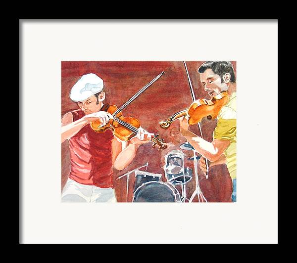 Musicians Framed Print featuring the painting Fiddles by Karen Ilari