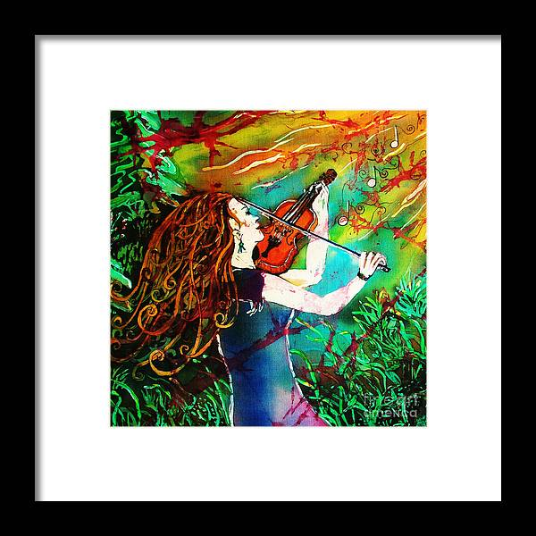 Music Framed Print featuring the painting Fiddling Toward The Sun by Sue Duda