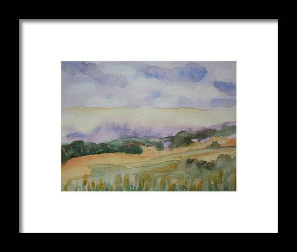 Watercolor Landscape Framed Print featuring the painting Field And Sky 1 by Warren Thompson