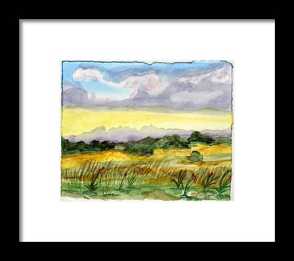 Landscape Framed Print featuring the painting Field And Sky 2 by Warren Thompson