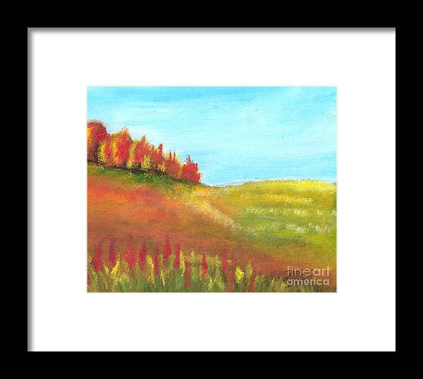Landscape Framed Print featuring the painting Field In Autumn by Vivian Mosley