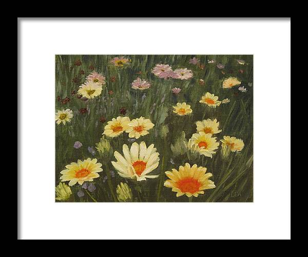 Flower Framed Print featuring the painting Field Of Flowers by Lea Novak