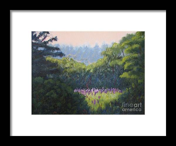 Landscape Framed Print featuring the painting Field Of Lupines Deer Island by Laura Roberts