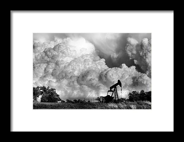 Oil Rig Framed Print featuring the photograph Field of Nightmares by Karen Scovill