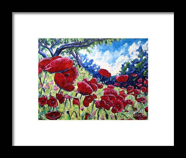 Poppies Framed Print featuring the painting Field Of Poppies 02 by Richard T Pranke