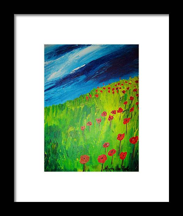 Flowers Framed Print featuring the painting field of Poppies 2 by Misty VanPool