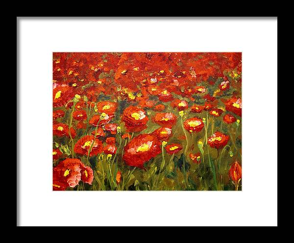 Poppies Framed Print featuring the painting Field Of Poppies by Mary Jo Zorad