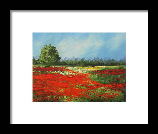 Poppy Framed Print featuring the painting Field of Poppies VIII by Torrie Smiley