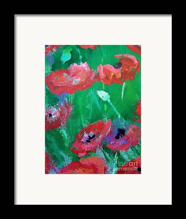 Framed Print featuring the print Field Of Red 2 by Geraldine Liquidano