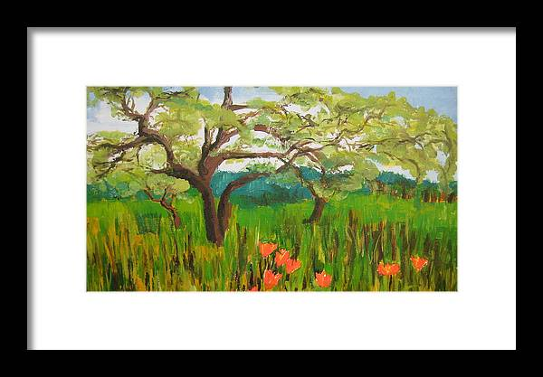 Landscape Framed Print featuring the painting Field Of Red Poppies by Mabel Moyano