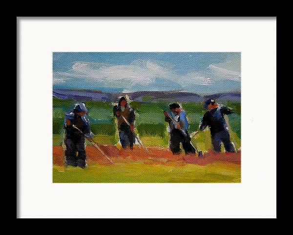 Landscape Framed Print featuring the painting Field Workers In Watsonville - Study by Merle Keller