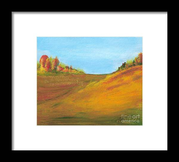 Landscape Framed Print featuring the painting Fields In Fall by Vivian Mosley