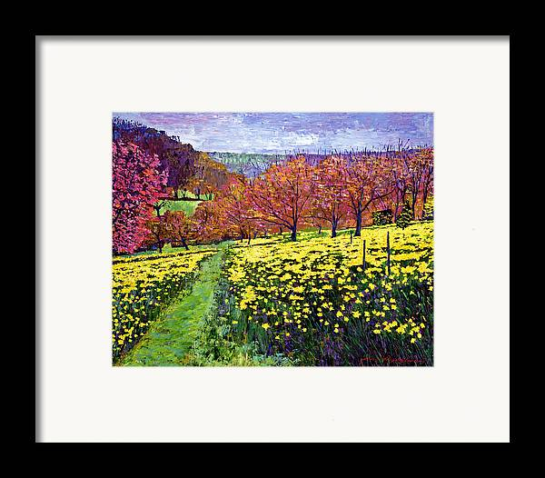 Impressionist Framed Print featuring the painting Fields Of Golden Daffodils by David Lloyd Glover
