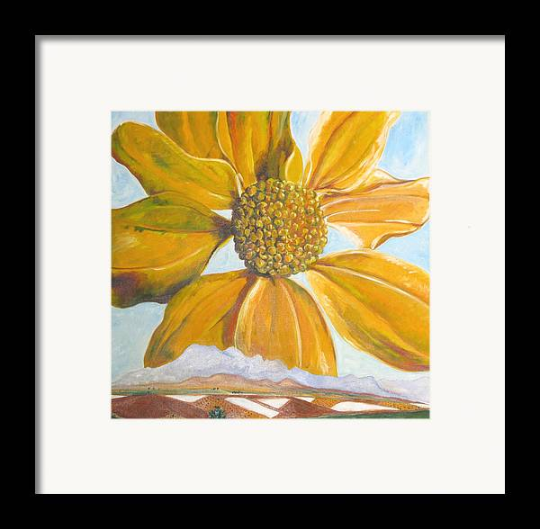 Landscape Framed Print featuring the painting Fields On A Flowery Morning by Kathy Mitchell