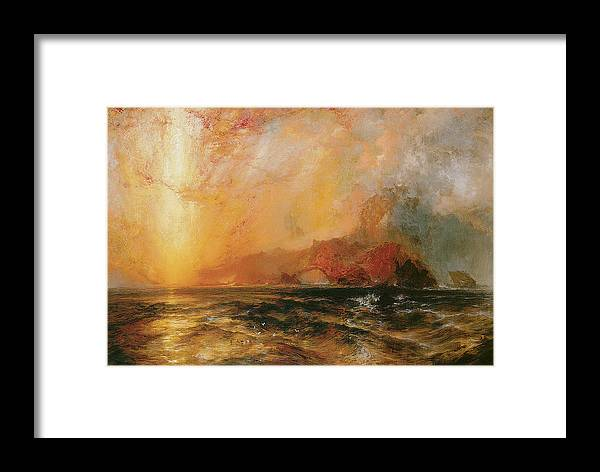 Thomas Moran Framed Print featuring the painting Fiercely The Red Sun Descending Burned His Way Along The Heavens by Thomas Moran