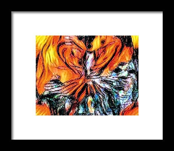 Fiery Crystal Framed Print featuring the pastel Fiery Crystal by Brenae Cochran